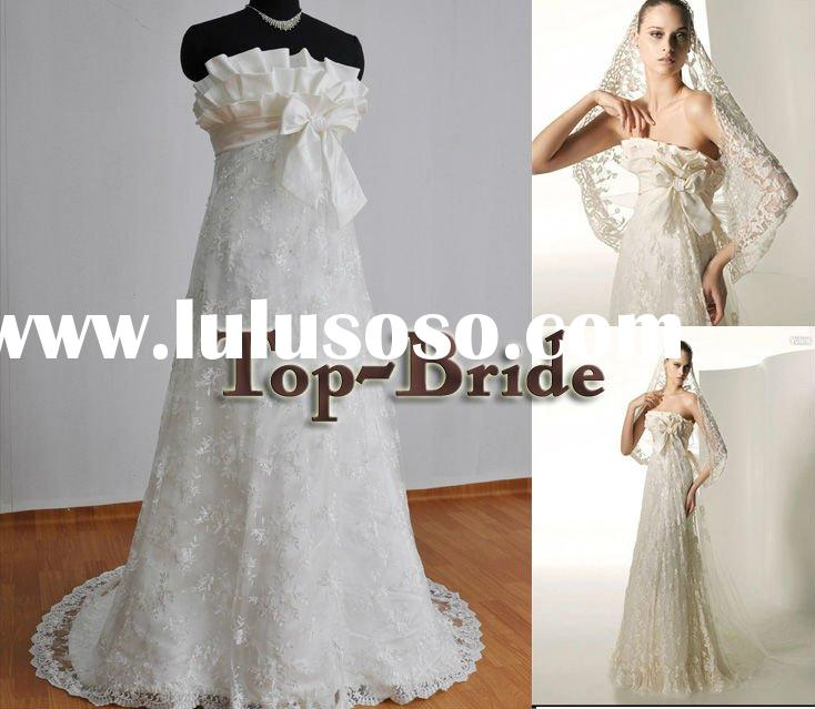 2012 Real Vintage Lace & Hand Make Flowers Wedding Dress Wholesale 9001