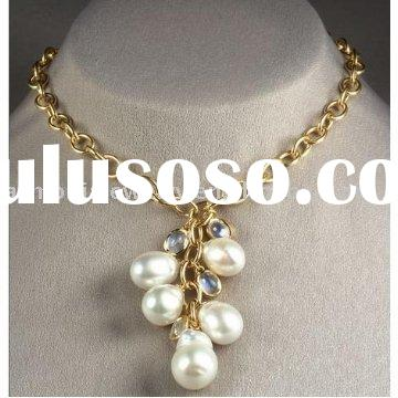 2012 Trend! Bold Chain Gemstone & Freshwater Baroque Pearl Pendant Necklace