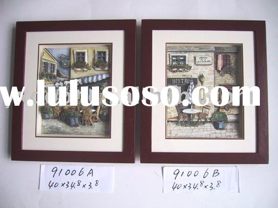 3D Paper Picture inside wooden Frame (91006A/B)( CANTON FAIR ON APR.23-27,2010.BOOTH NO:12.2L20.)