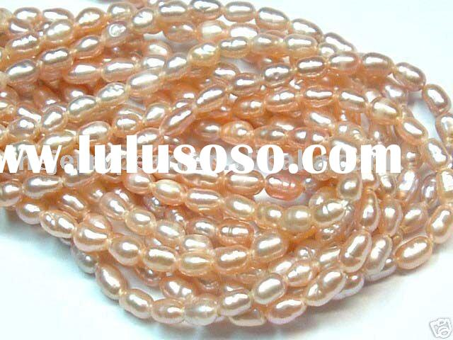 3-4mm rice grade A small fresh water pearl strand necklace