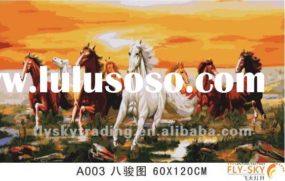 60*120cm eight horses abstract animal diy digital oil painting by numbers set for wall decoration
