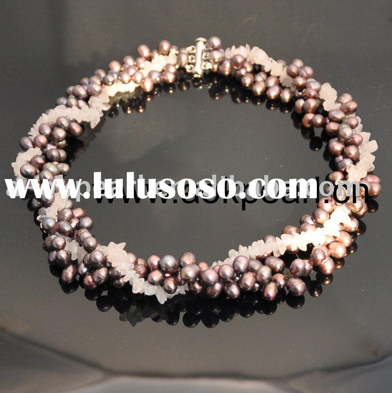 AN137 Silver clasp, stone & freshwater pearl necklace jewelry