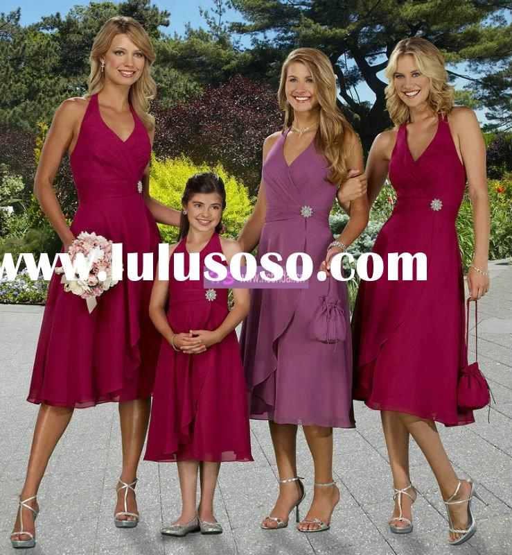 A-line Halter Chiffon Tea-length Bridesmaid Dresses