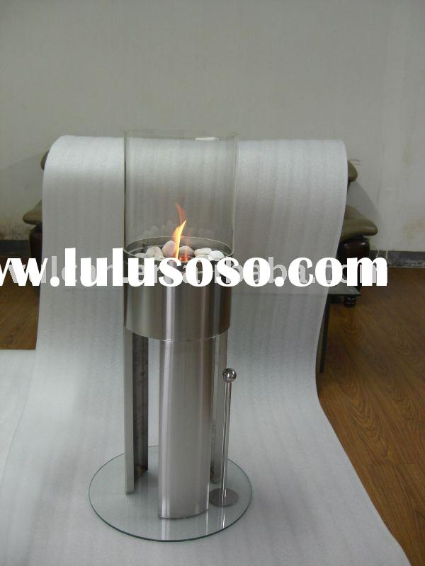 Free standing stainless steel + glass Bio Ethanol Fireplace