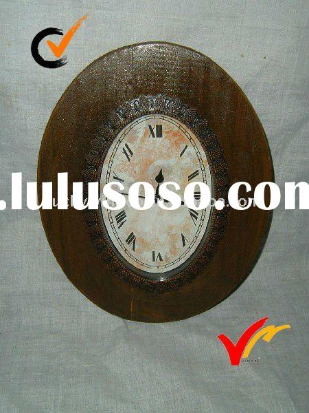 French style retro wooden wall clock home decoration