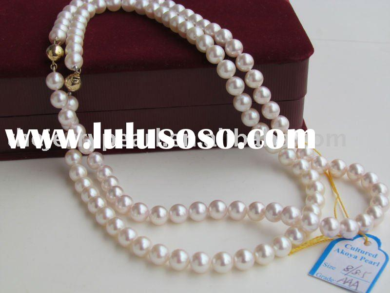 Grade AAA 8-8.5mm pink Akoya Round Pearl Necklace with 14K gold clasp