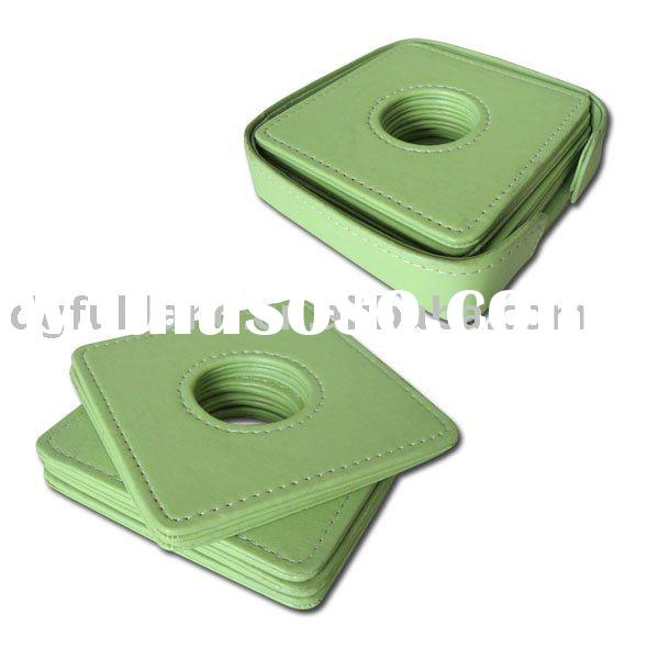 Green Faux Leather Coaster Set with Holder