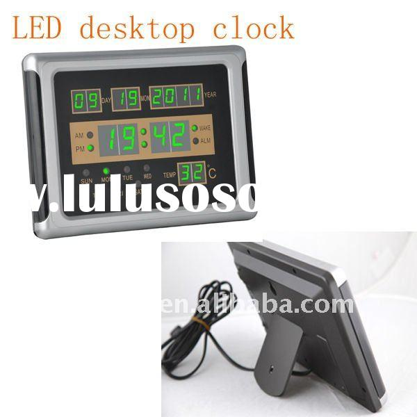Green table led number clock