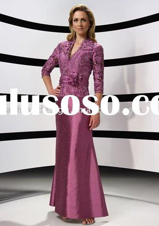 HLM00143 Special occasion red lace three quarter sleeve sash flower ribbon belt floor length mother