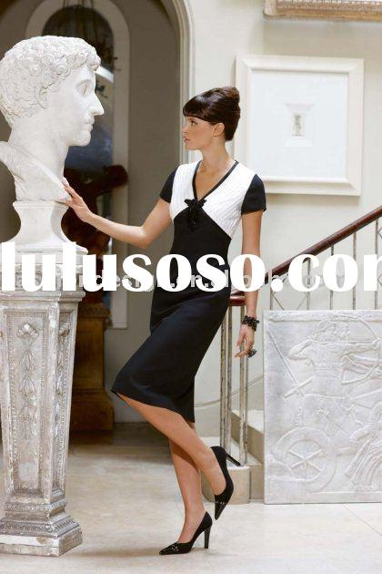 HLM00287 2011 Featuring short sleeve straight black and white tea-length mother of bride dress