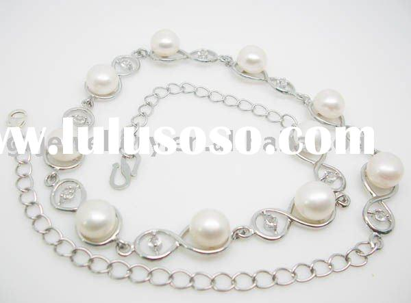Handmade antique 925 Sterling silver freshwater pearl necklace GPSN-8655