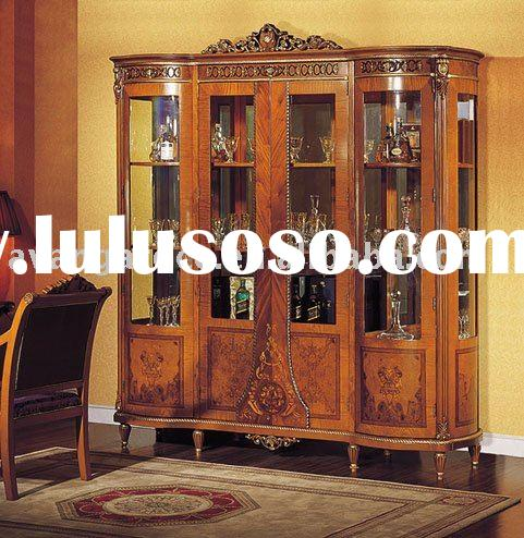 Home/hotel wooden glass wine cabinet/display showcase