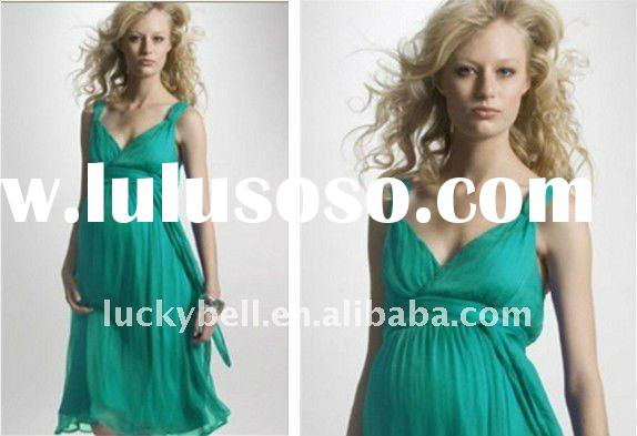 Hot sale New Custom-made Spaghetti Strap Green Maternity dresses