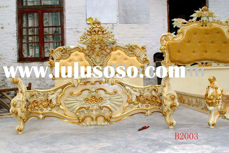 Louis style Classical & antique wooden luxury bed, king size bed, gold color,hand carving