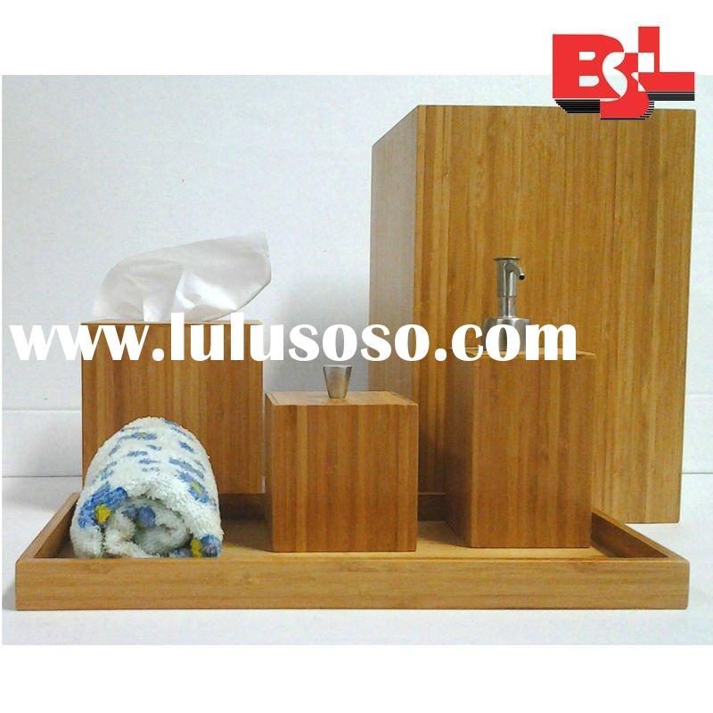 Modern bamboo bath room countertop accessories set