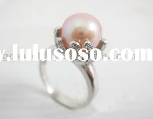 NEW sterling silver ring, fashion finger ring, freshwater pearl ring,pearl jewelry