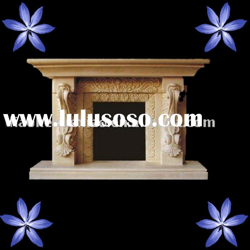 Natural Carved Yellow Marble Fireplace Mantel