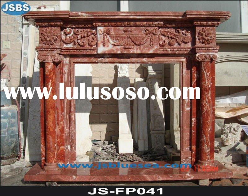 Natural red marble fireplace mantel