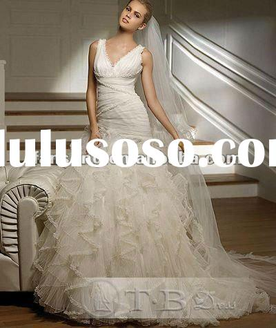 New arrival strapless V neck trumpet organza wedding dress