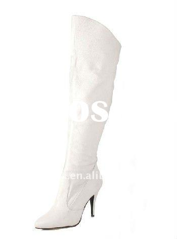 Pigskin leather stiletto heels knee high boots with zipper inside SW1135/ladied boots