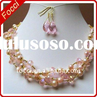 Pink freshwater pearl,crystal,ribbon fashion Jewelry set