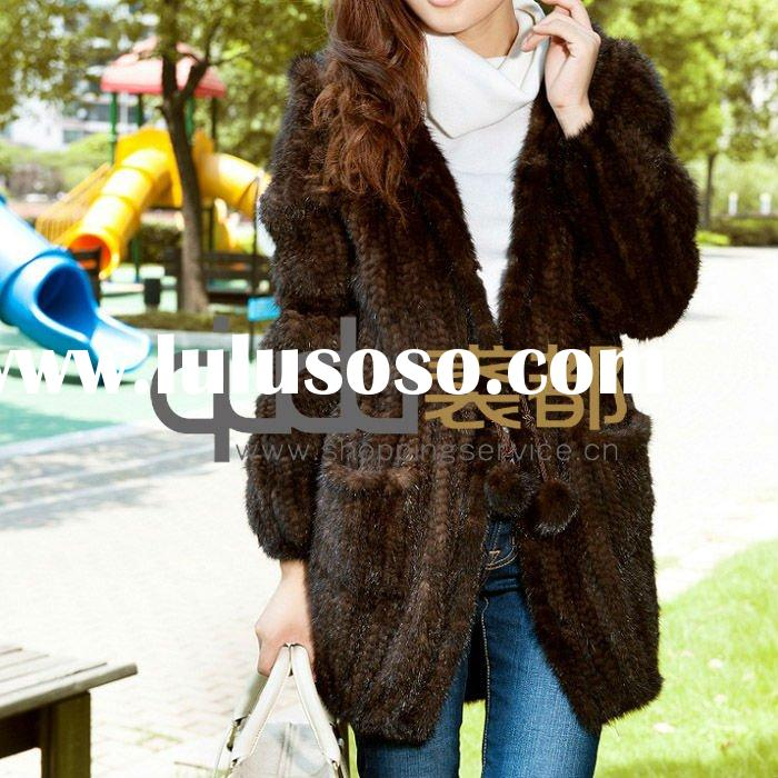 QD11601 Knitted Mink Fur Coat with Hood