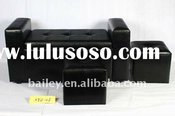 S/3 storage faux leather sofa set with two cube ottoman