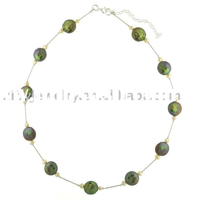 Sterling Silver and Freshwater Coin Pearl Necklace