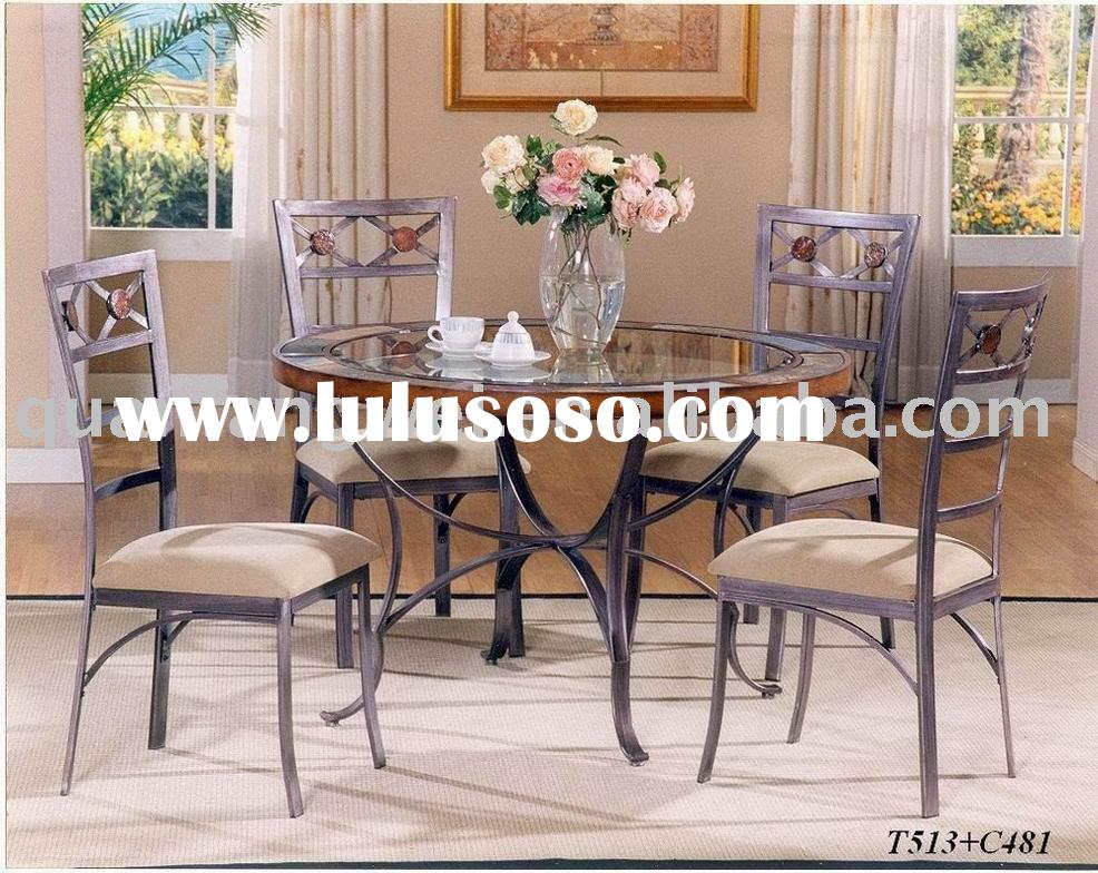 T-513 glass top round dining table