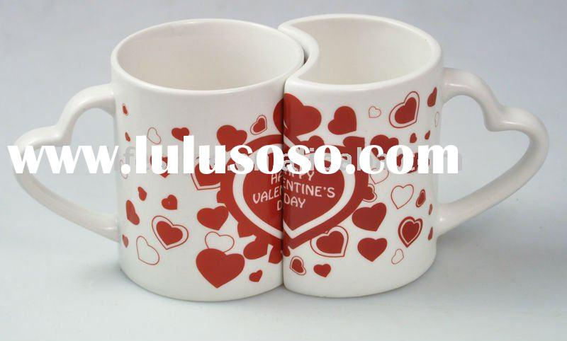 Valentine cup set, ceramic coffee mug, tea cup with decal