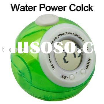 Wholesale Eco-friendly Ball Shaped Water Power Clock with LCD Display