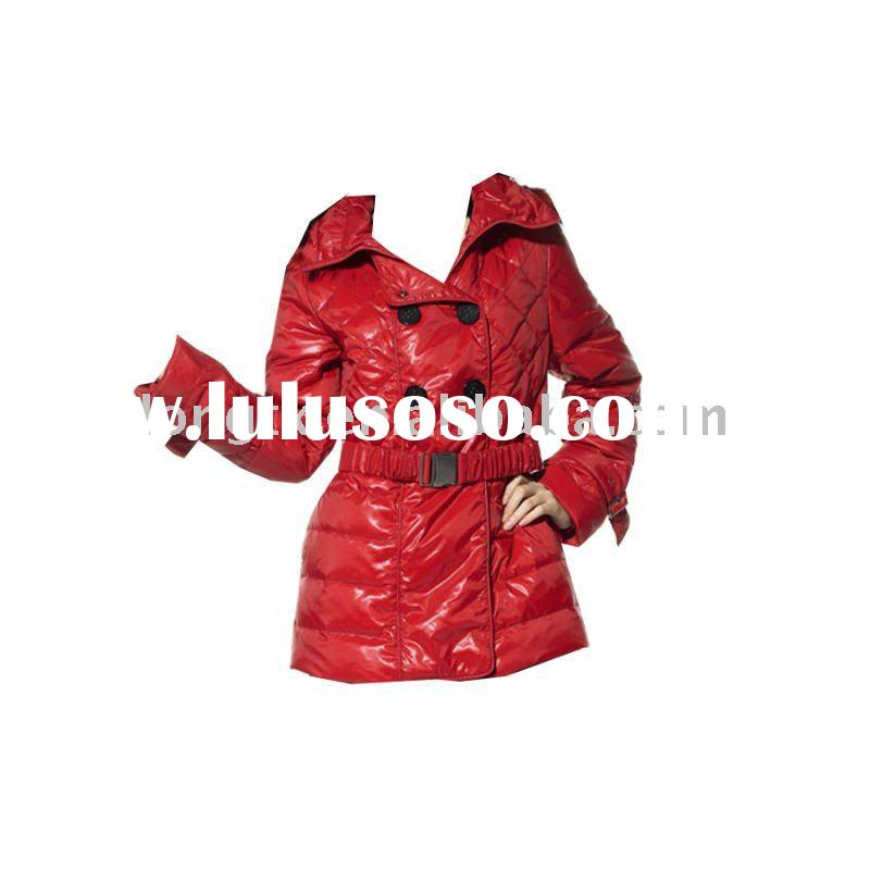 Women's fashion red belted Pu leather jackets