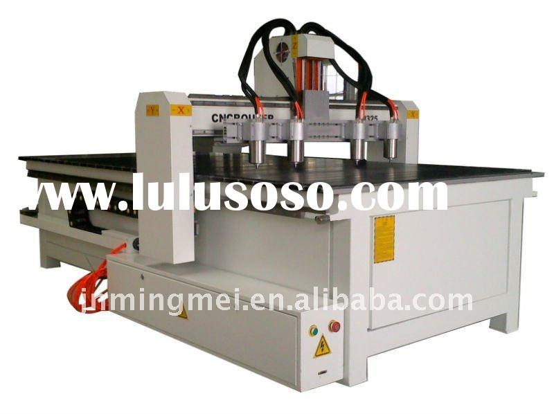 Wood carving CNC router with four spindles