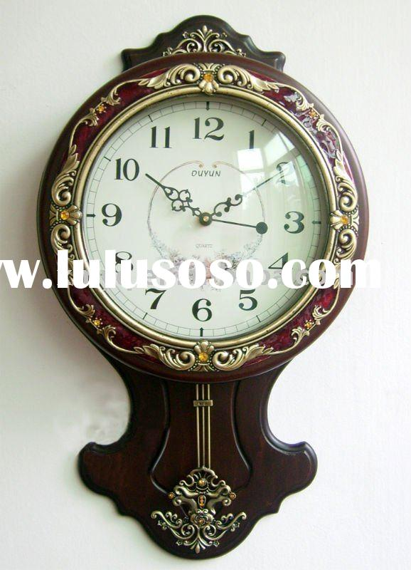 Wooden round wall clock with pewter decorative folower
