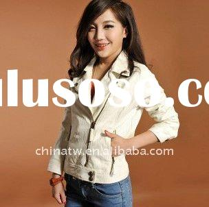 [dh0417]exquisite White Jacket, faux leather;zip-up,cropped women white leather Jacket, Biker jacket