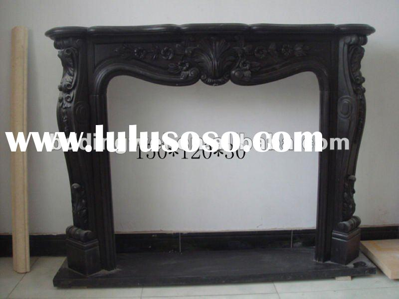 black marble carved flower fireplace
