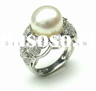 charming silver gold fresh water Pearl ring