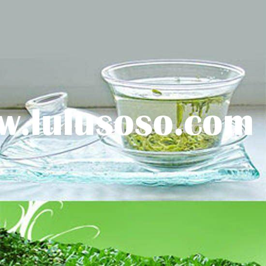clear borosilicate glass tea cup with saucer