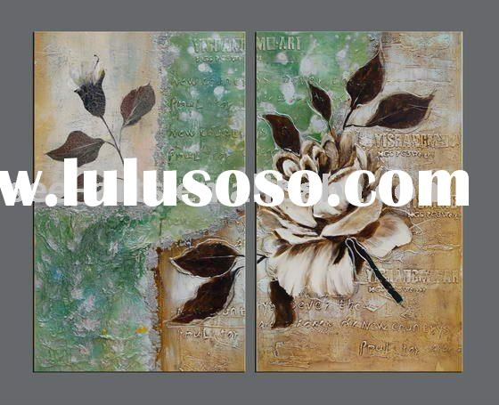 decorative modern group flower oil painting on canvas