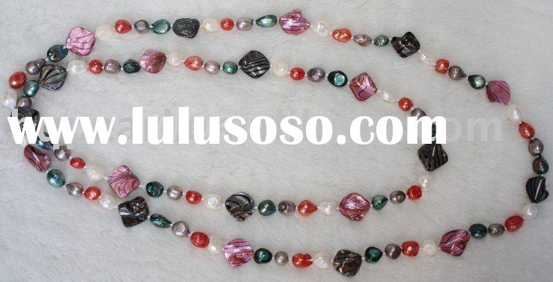 long colorful freshwater pearl necklace for spring