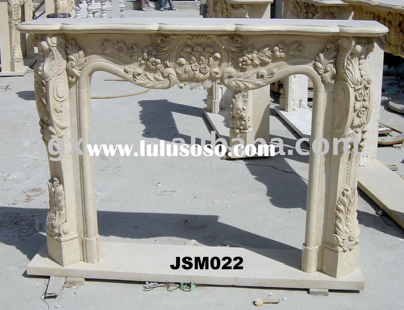 marble stone fireplace mantel