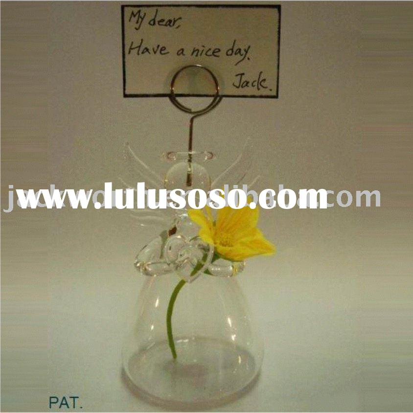 mini glass vase with placecard holder