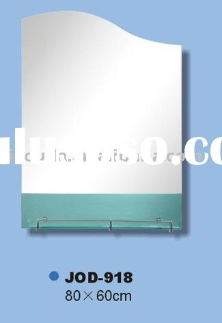 new blue home with glass shelf wall mirror