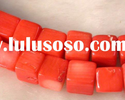 red square loose coral beads