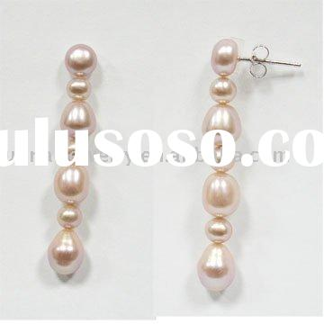 small off round pearl,oval pearl earrings