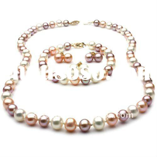 wholesale multicolor freshwater pearl jewelry, 14k gold clasps