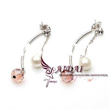 women' charm stainless steel fashion earrings with crystal and pearl