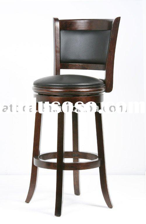 24 29 Inch Wooden Leather Swivel Modern Bar Stools For