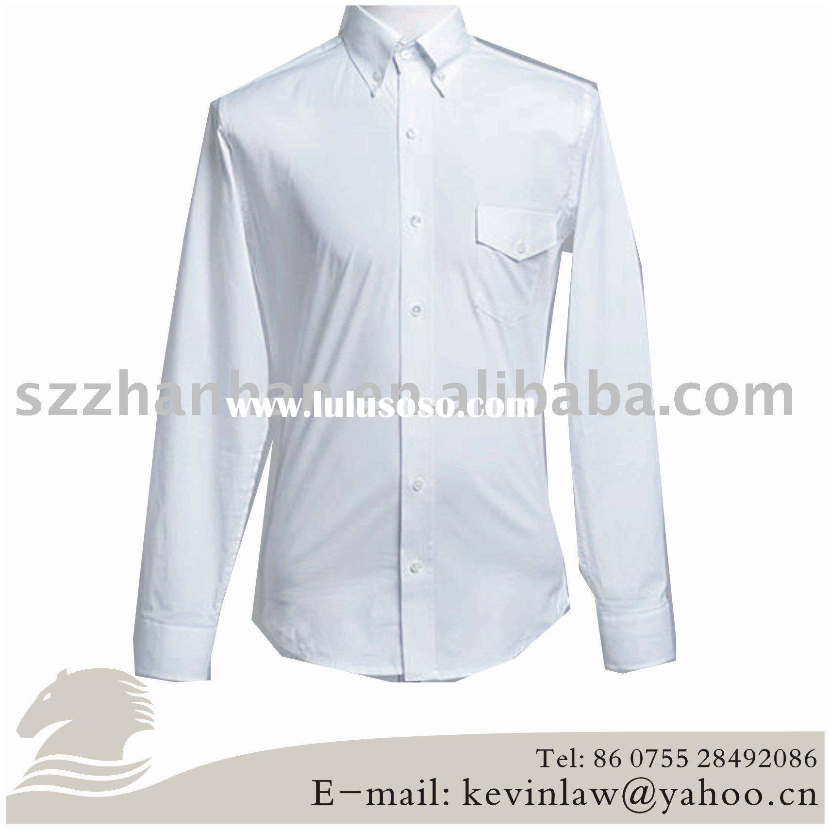 100% cotton long sleeve white solid color button down collar dress shirts.