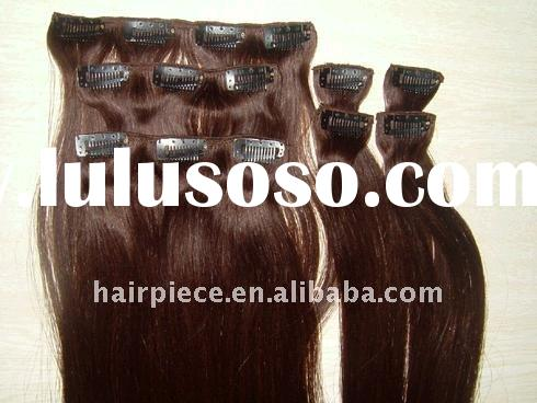 100% human hair Clip on hair extension with top quality